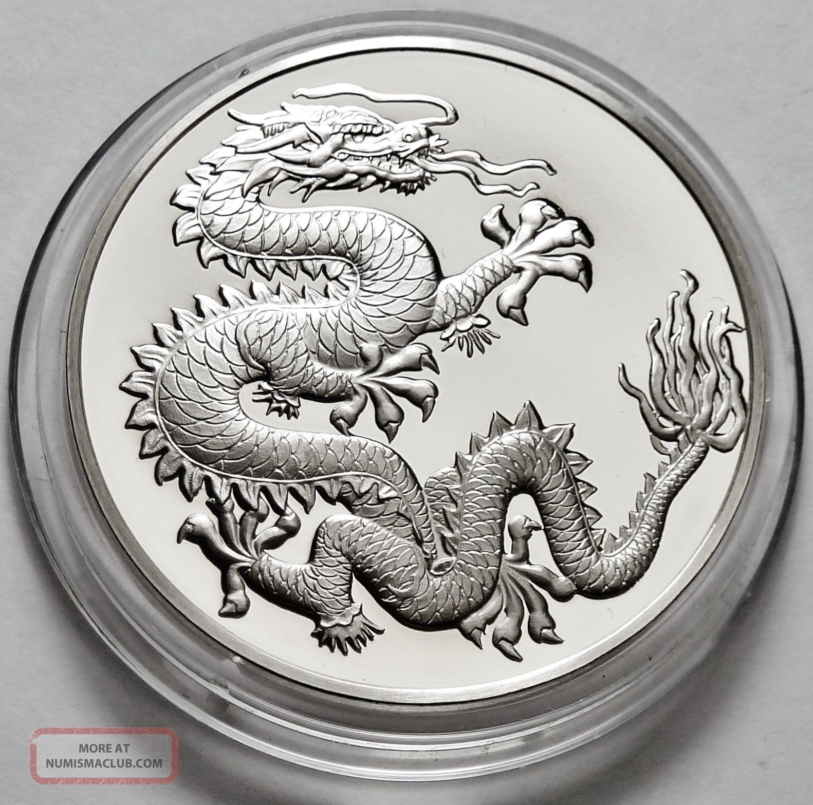 Dragon Good Luck Symbol Sterling Silver Coin Round Franklin