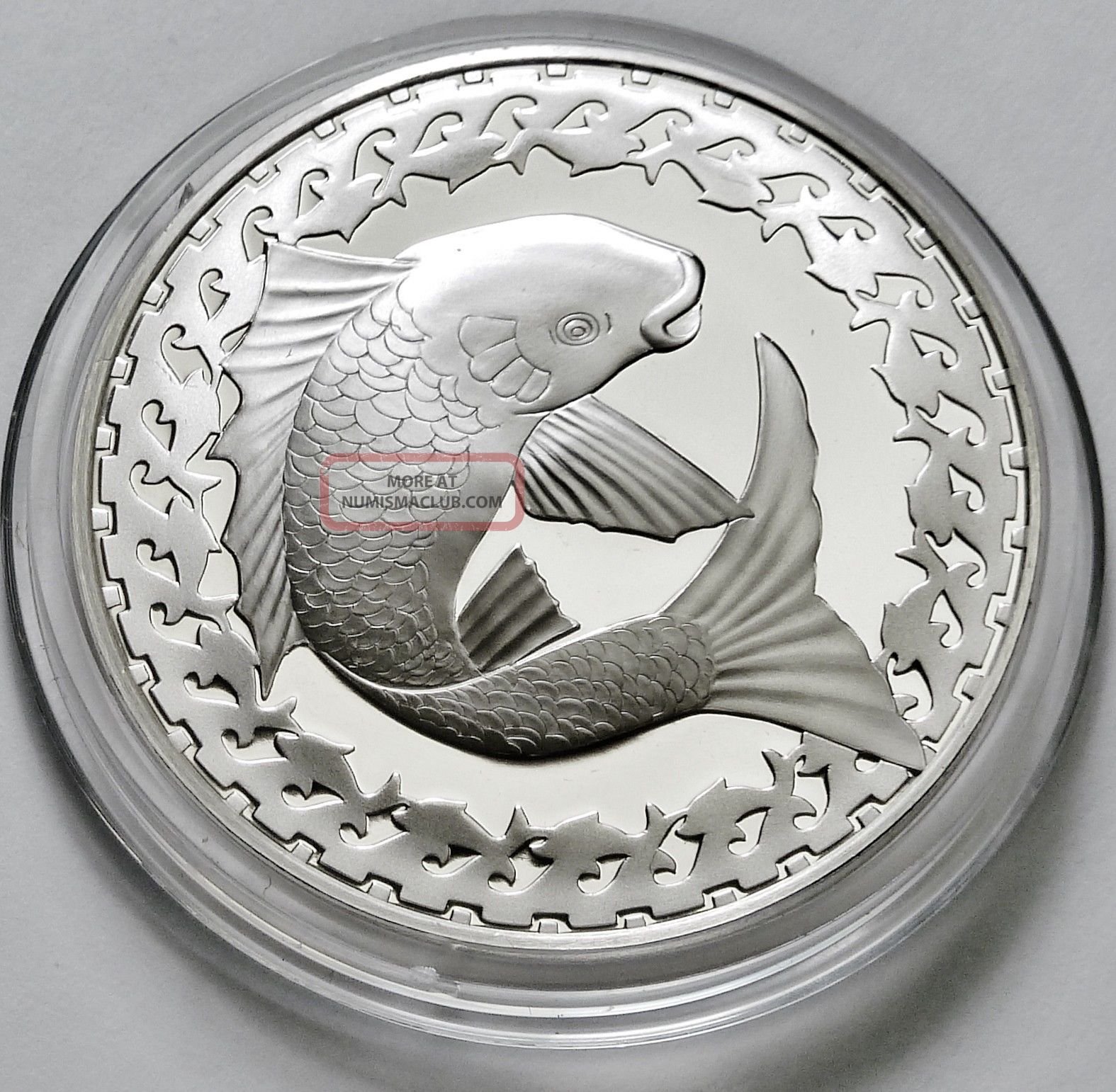 Fish Good Luck Symbol Good Fortune Sterling Silver Coin
