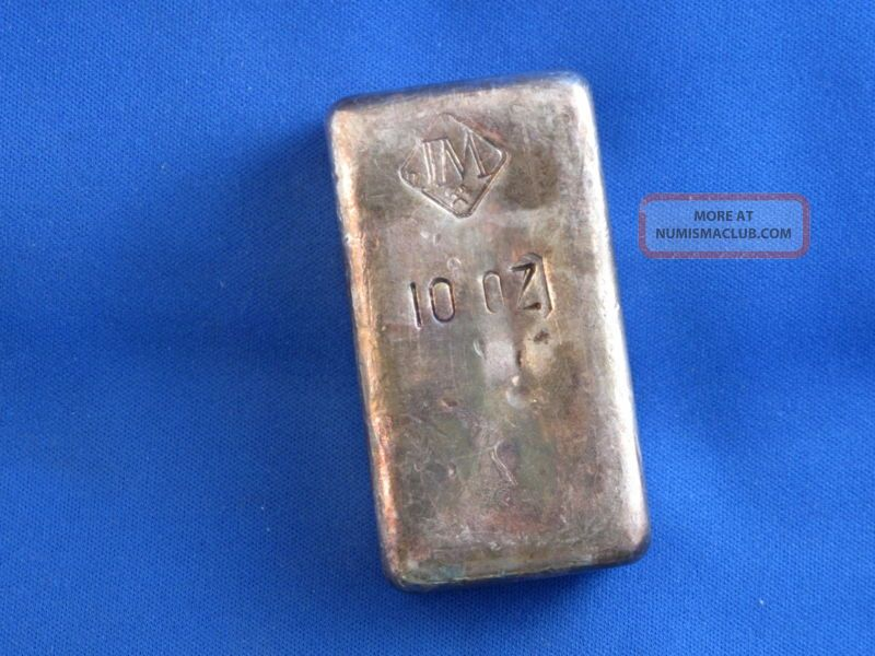 Johnson Matthey 999 Silver 10 Oz Old Poured Bar B4165