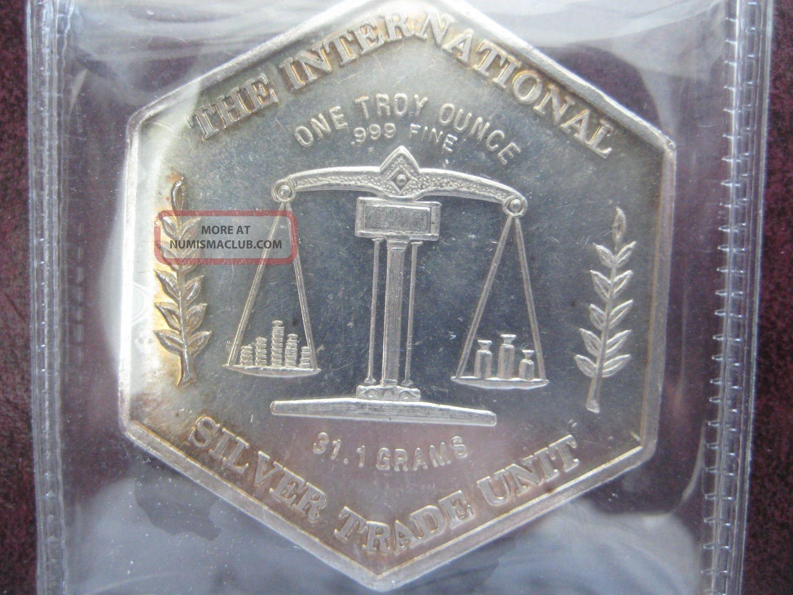 International Silver Trade Unit 1 Oz Hexagon 999 Silver Rare