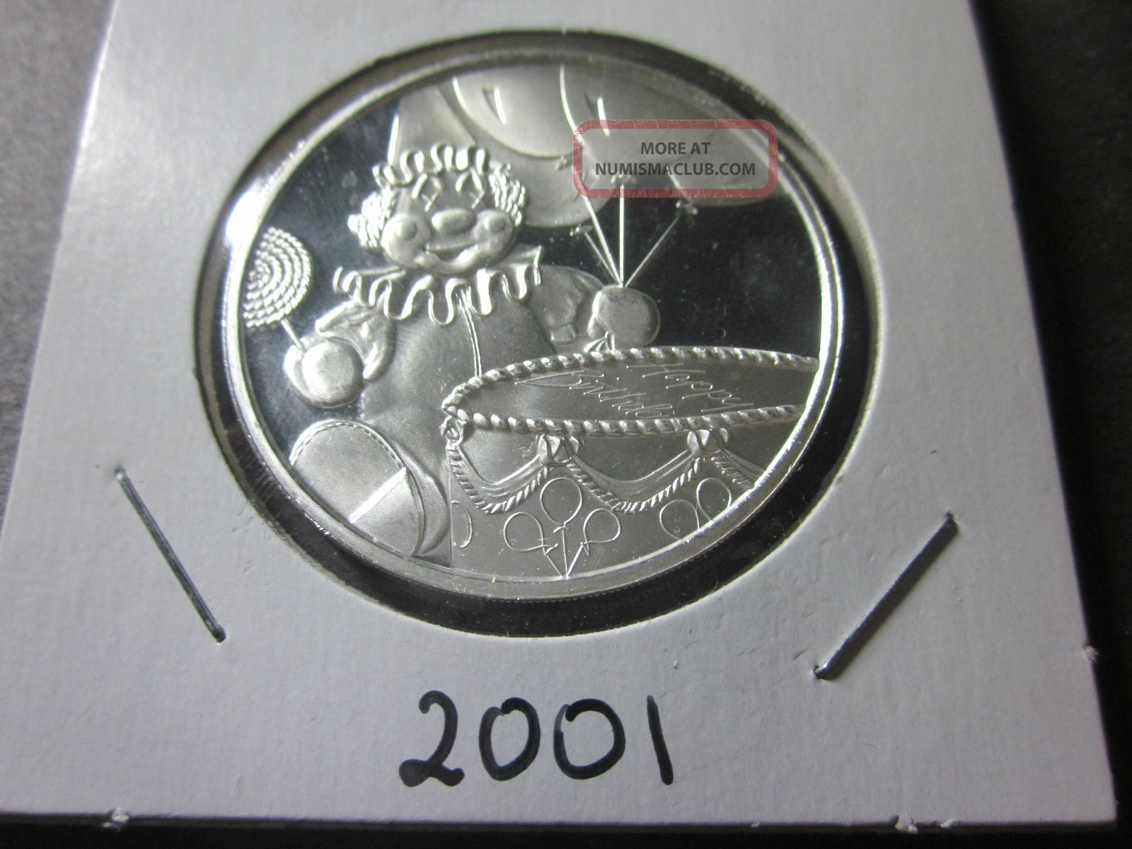 1 Troy Oz Ounce 999 Fine Silver 2001 Happy Birthday Clown