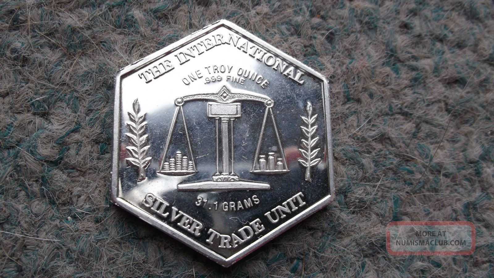 Rare Hexagon International Silver Trade Unit 1 Troy Oz