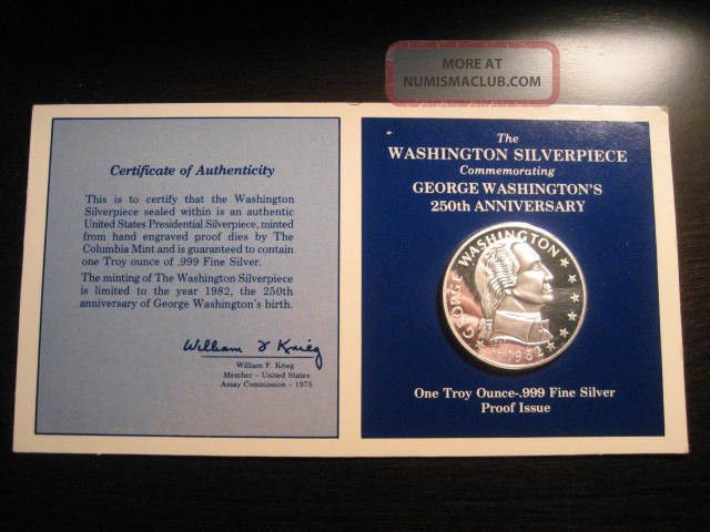 1982 George Washington Silverpiece 1 Troy Ounce 999