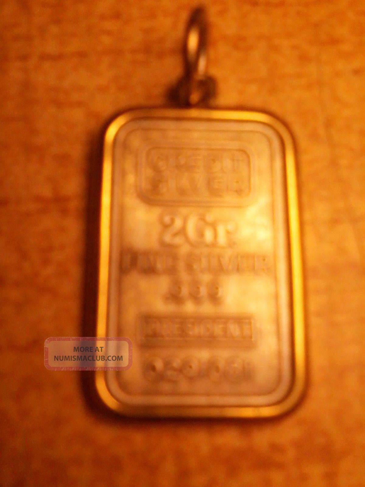 Vtg Credit Silver President 2 Gr 999 Fine Silver Bar