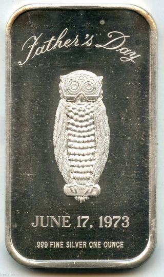 1973 Father S Day Owl 999 Silver Art Bar Medal 1 Oz