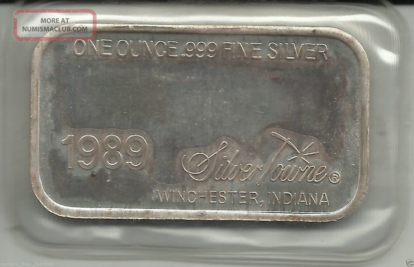 1989 Silvertowne Vintage Merry Christmas 1 Troy Oz 999