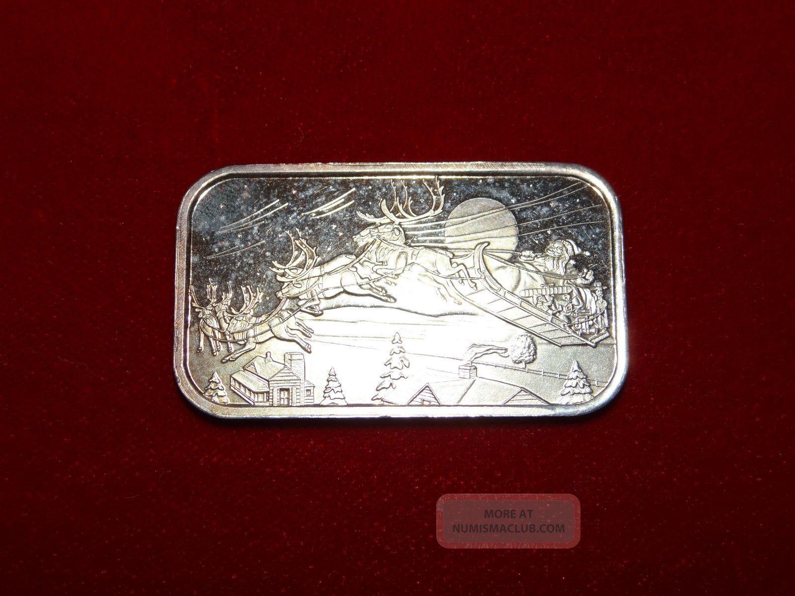 1 Troy Ounce 999 Fine Silver Bar Ingot Christmas 2001