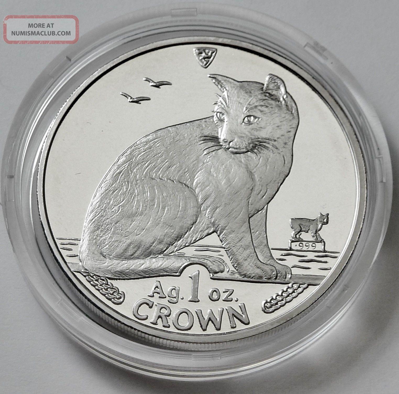 Isle Of Man York Alley 1990 Crown Cat 1 Oz 999 Silver