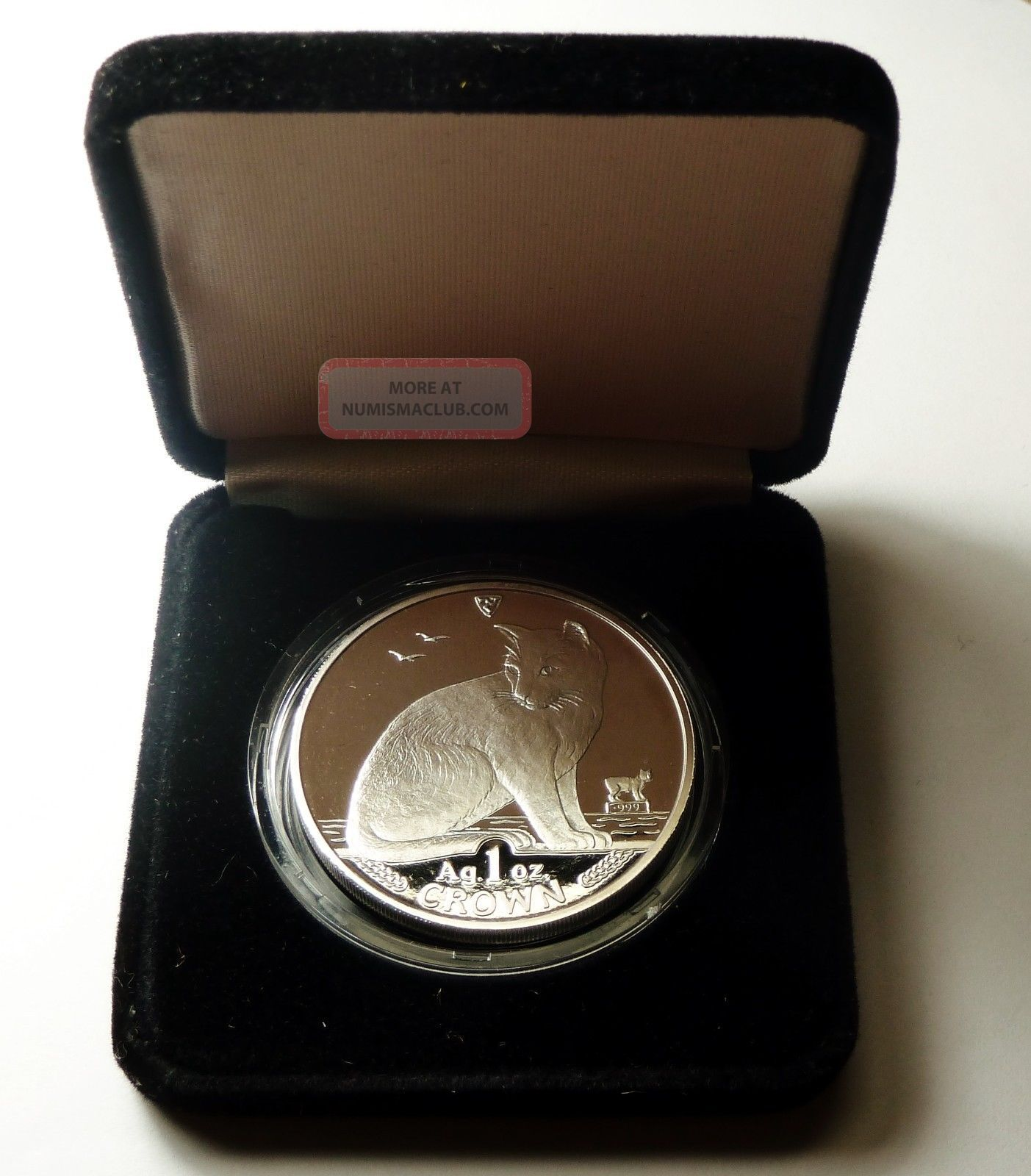 Isle Of Man York Alley 1990 Crown Cat 1 Oz 999 Silver