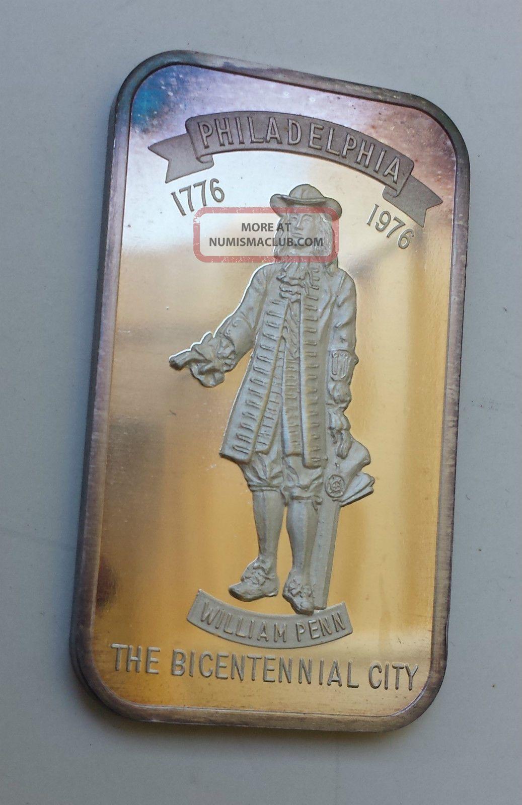Silver Art Bar Philadelphia William Penn 1 Troy Ounce 999