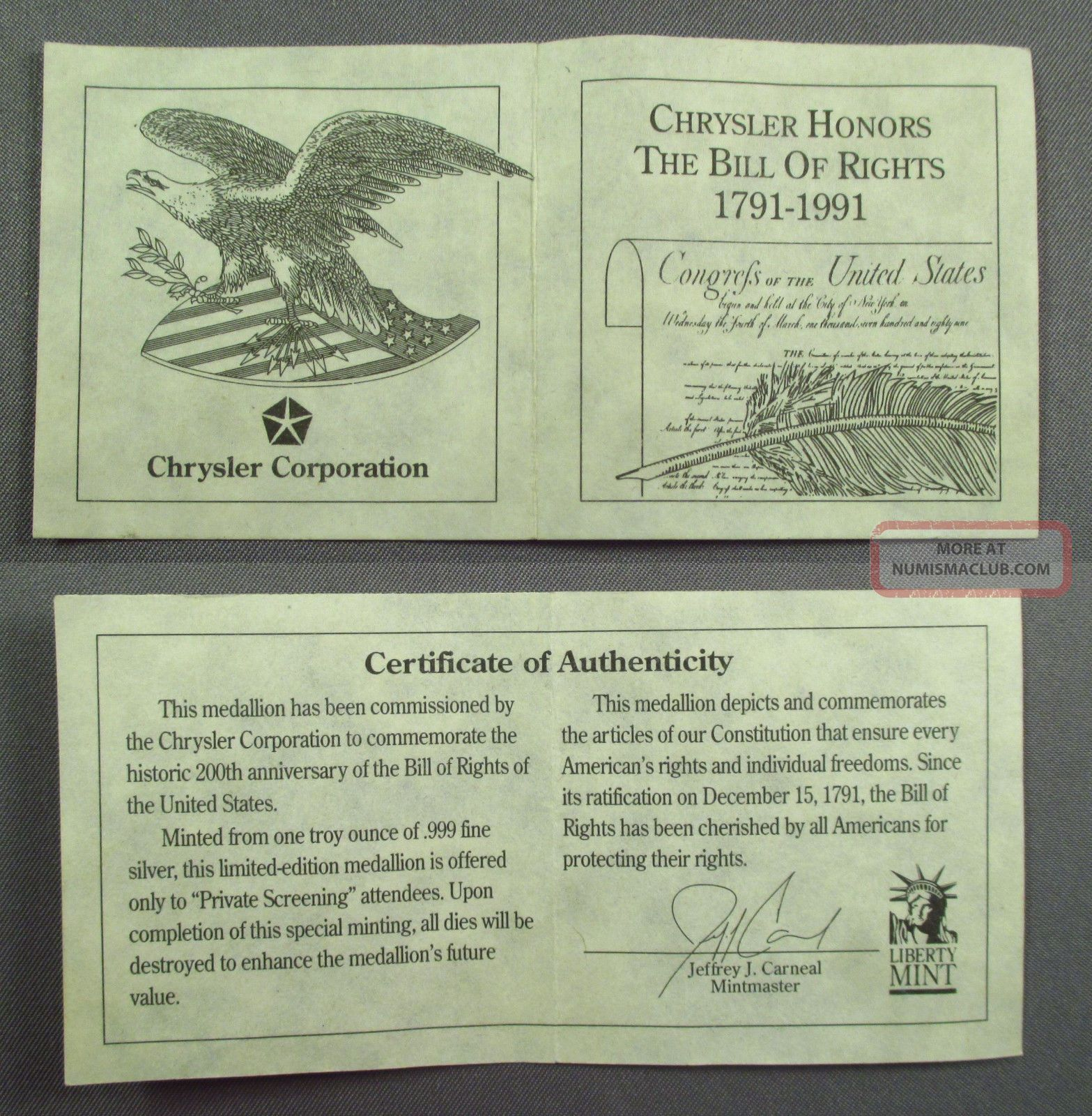 1791 1991 Chrsyler Honors The Bill Of Rights 1 Ozt 999