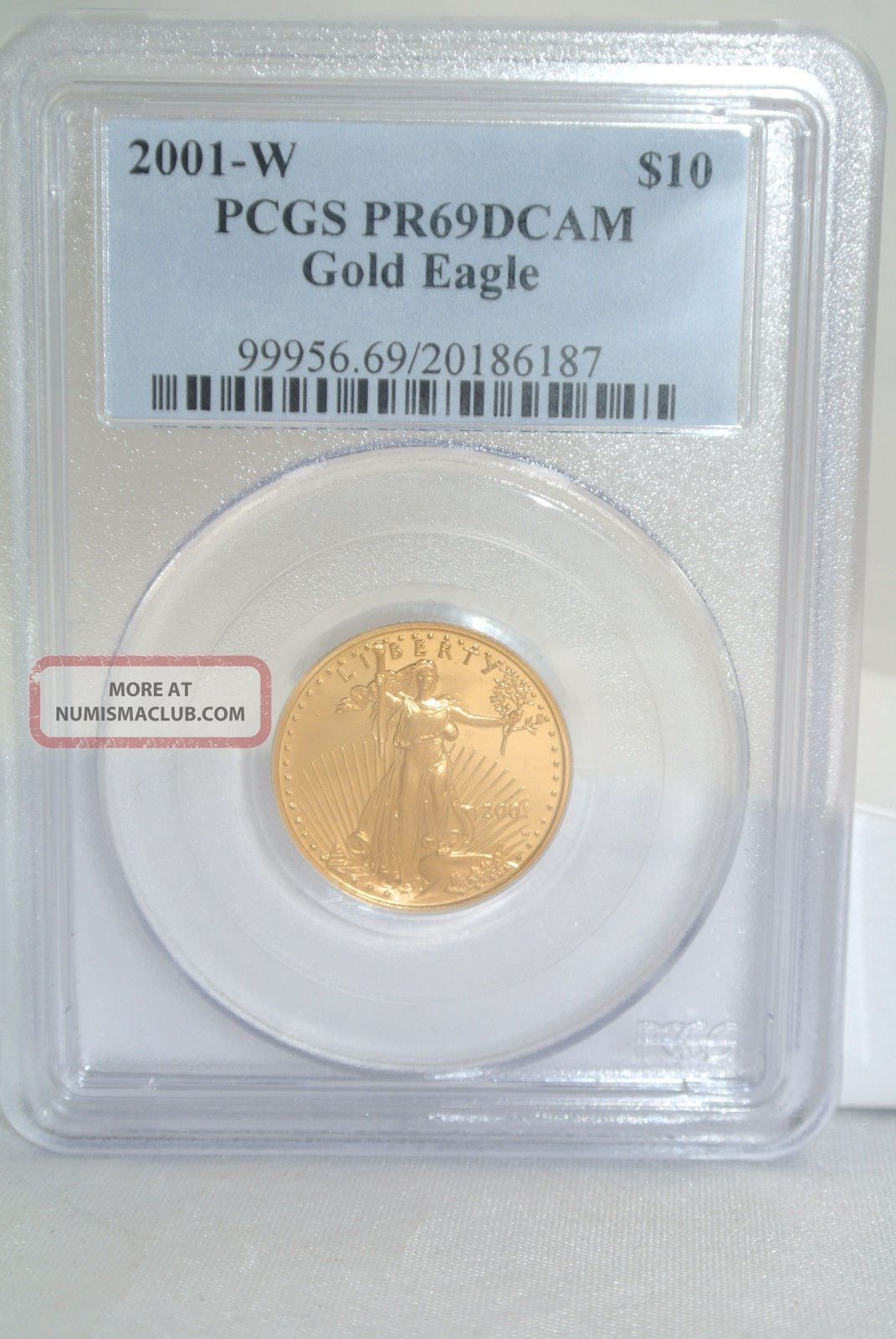 2001 Gold American Eagle 1/4 Oz Pcgs Pr69dcam Slabbed $10 Gold Coin.  9999 Gold photo