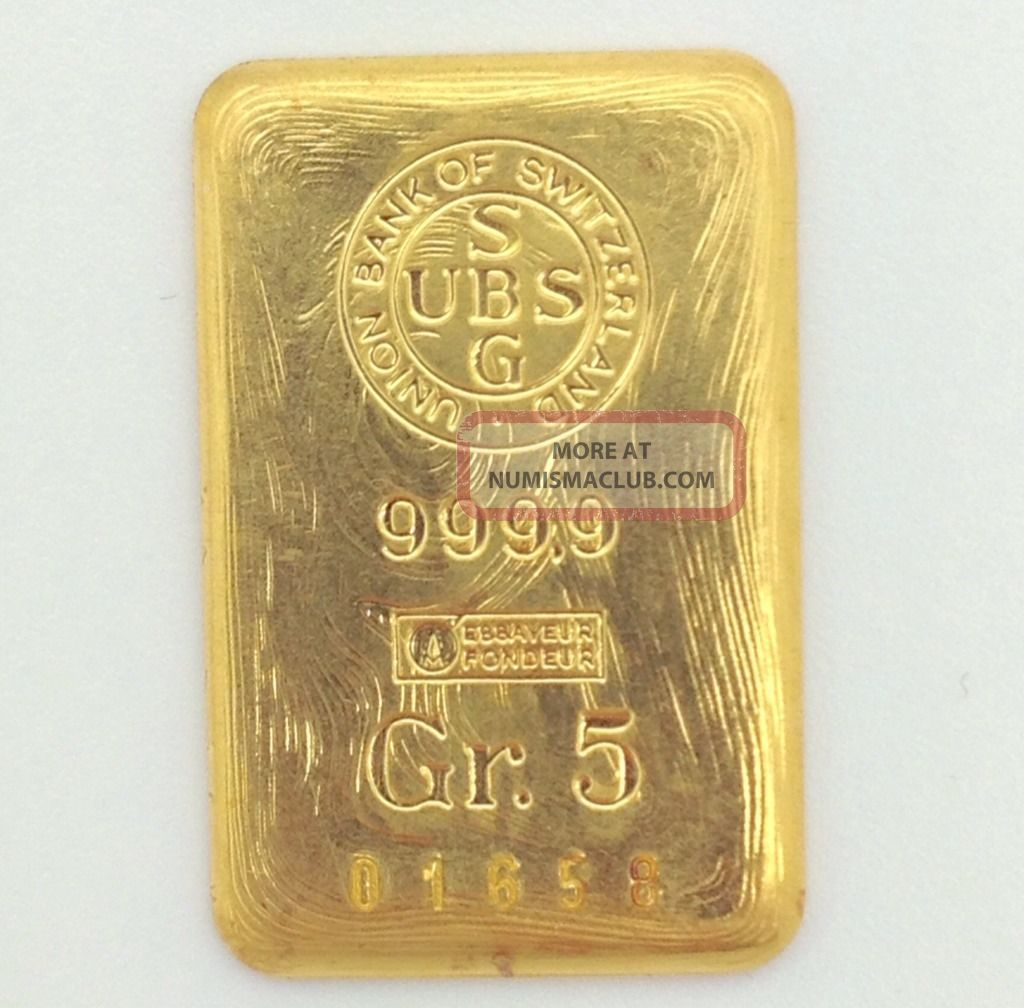 Union Bank Of Switzerland Gold Bar March 2019