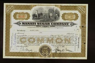 Manati Sugar Company York 1959 Sign George A Braga Iss To Albert Boam photo