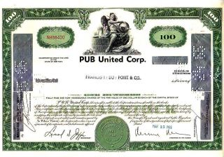 Pub United Corp Ny 1965 Stock Certificate photo