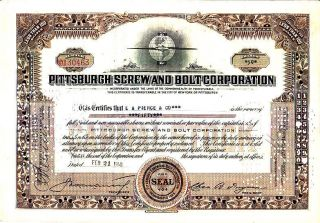Pittsburgh Screw And Bolt Corporation Pa 1940 Stock Certificate photo