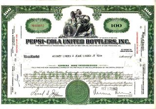Pepsi - Cola United Bottlers Inc Ny 1963 Stock Certificate photo