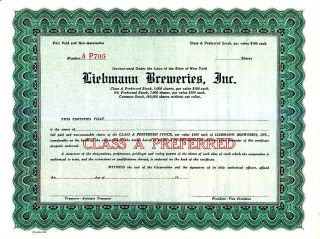 Liebman Breweries Inc Ny 19 - - Stock Certificate photo