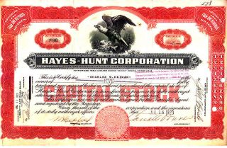 Hayes - Hunt Corporation 1923 Stock Certificate photo