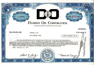 Damson Oil Corporation 1973 Stock Certificate photo