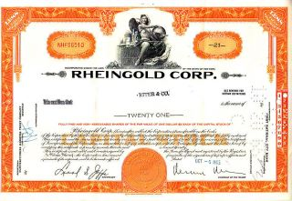 Broker Owned Stock Certificate: Riter & Co,  Payee; Rheingold Corp,  Issuer photo