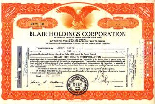 Blair Holding Corporation Ny 1955 Stock Certificate photo
