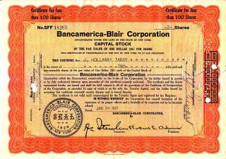 Bancamerica - Blair Corporation Ny 1937 Stock Certificate photo