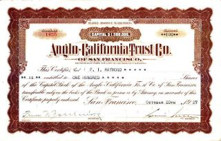 Anglo - California Trust Co Ca 1927 Stock Certificate photo