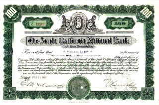 Anglo - California National Bank Ca 1943 Stock Certificate photo