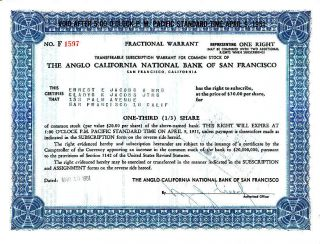 Anglo California Nat ' L Bank Of San Francisco 1951 Stock Warrant Certificate photo