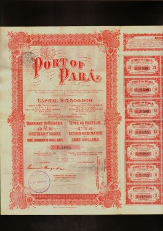 Brazil : Port Of Para 1906 With Uncancelled Dividend Coupons + 1 Talon photo