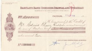 Checks Egypt Vintage Uk Gb Barclays Bank Dominion Colonial Overseas 1938 Look photo