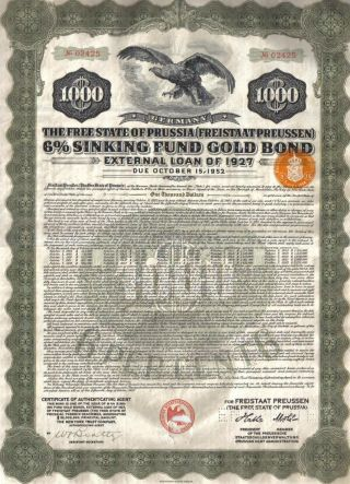 Germany External 6% Sinking Fund Gold Bond Loan 1927 State Prussia $1000 Coupons photo