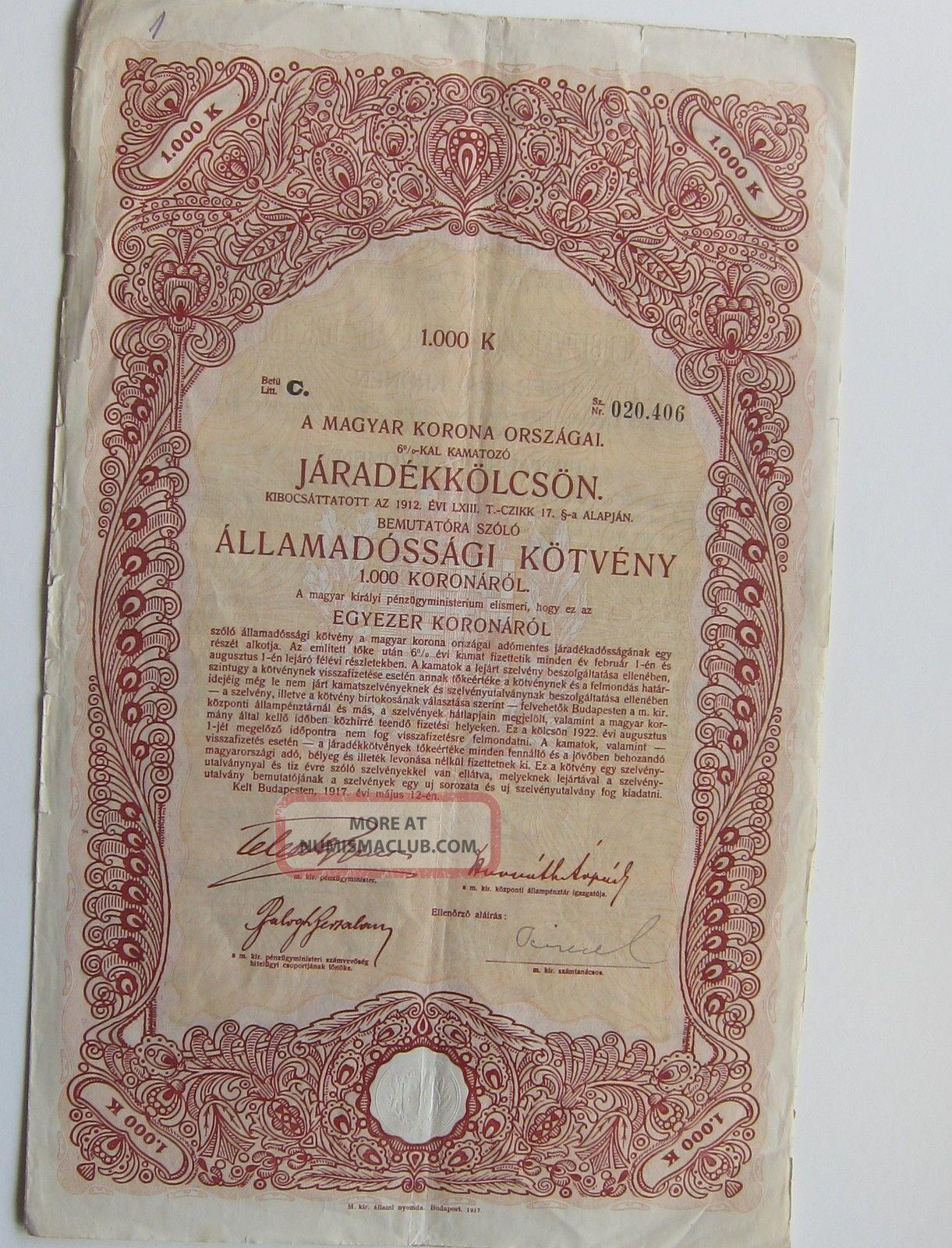 Kingdom Of Hungary 1912 State - Bond With Coupons Stocks & Bonds, Scripophily photo