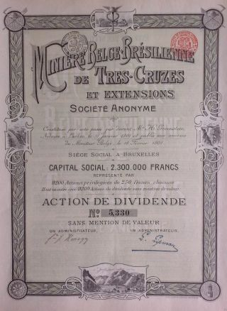 Brazil Brazilian 1904 Miniere Belge Belgian 250 Francs Bond photo