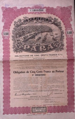 Brazil Brazilian 1909 Port Para 500 Francs Bond Loan photo