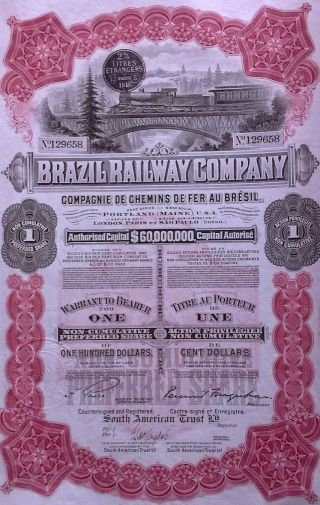 Brazil Brazilian 1918 Railway Company 1 Action Bond Loan photo