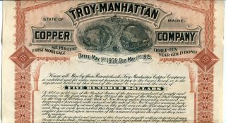 Troy Manhattan Copper Co. ,  1905 $500 Gold Mortgage Bond photo