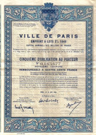 France Bond Loan 1948 City Ville De Paris 3% Uncancelled 400 Francs Deco Coupon photo