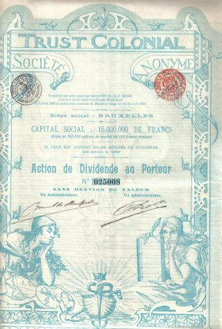 Belgium Bond Trust Colonial 1899 Dividende Uncancelled Top Deco Coupons photo