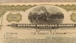 1917 Western Maryland Railway Stock Certificate Issued photo