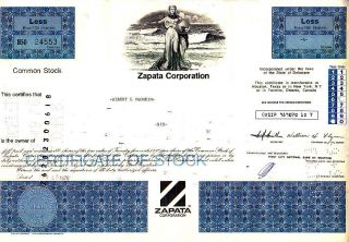 Zapata Corporation 1976stock Certificate photo