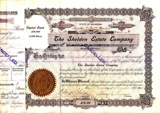 Shelden Estate Company Mi 1904 Stock Certificate photo