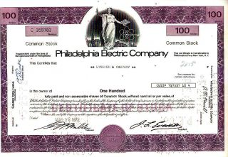 Philadelphia Electric Company Pa 1972 Stock Certificate photo