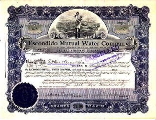 Escondido Mutual Water Company Ca 1927 Stock Certificate photo