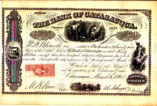 Bank Of Catasauqua Pa 1865 Stock Certificate photo