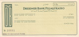 Checks Egypt Dresdner Bank Germany In Cairo Cheque Unc Look photo