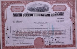 Puerto Rico 1965 South Sucar Company 50 Shares Bond Loan photo