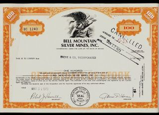 Bell Mountain Silver Mines Inc Nevada Old Stock Certificate Dd 1973 photo