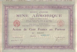 Indochina 1930 Society Mine Armorique Hanoi 100 Francs Share Uncancelled Coupons photo